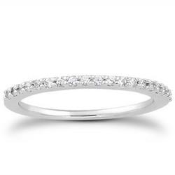 14k White Gold Slim Profile Diamond Micro Prong Diamond Wedding Ring Band, size 5
