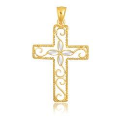 14k Two-Tone Gold Filigree Flower Motif Cross Pendant