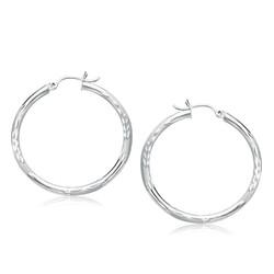 14k White Gold Fancy Diamond Cut Hoop Earrings (35mm Diameter)