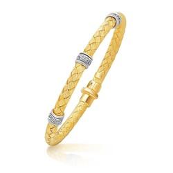 14k Two-Tone Gold Rondelle Diamond Station Basket Weave Bracelet, size 7.25''