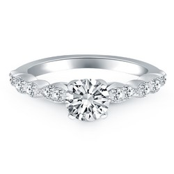 14K White Gold Fancy Shaped Diamond Engagement Ring, size 8.5