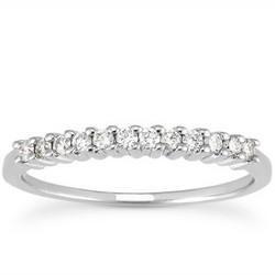 14K White Gold Raised Shared Prong Diamond Wedding Ring Band