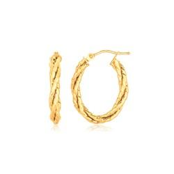 14k Yellow Gold Twisted Tube Oval Hoop Earrings