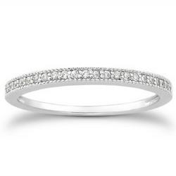 14k White Gold Diamond Micro Pave Diamond Milgrain Wedding Ring Band, size 7.5