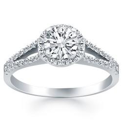 14K White Gold Diamond Halo Split Shank Engagement Ring, size 5.5