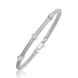 Basket Weave Bangle with Diamond Accents in 14k White Gold (4.0mm), size 7.25''