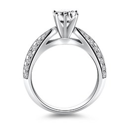 14k White Gold Cathedral Double Row Pave Diamond Engagement Ring, size 6