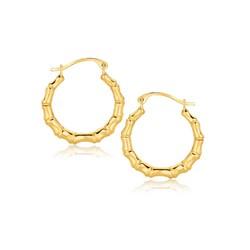 10k Yellow Gold Branch Motif Hoop Earrings