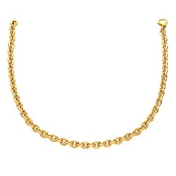 14k Yellow Gold Polished Cable Link Necklace, size 18''