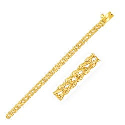 3.0 mm 14k Yellow Gold Two Row Rope Bracelet, size 7''