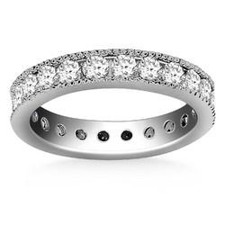 14k White Gold Antique Channel Set Round Diamond Eternity Ring, size 4