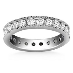 14k White Gold Antique Channel Set Round Diamond Eternity Ring, size 8