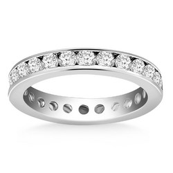 14K White Gold Eternity Ring with Channel Set Round Diamonds, size 8