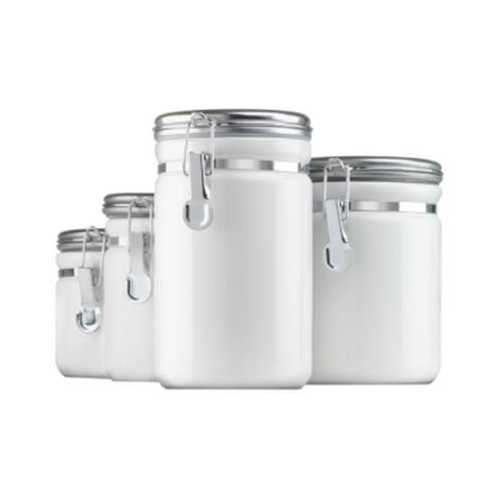 Canister Set White Ceramic 4pc