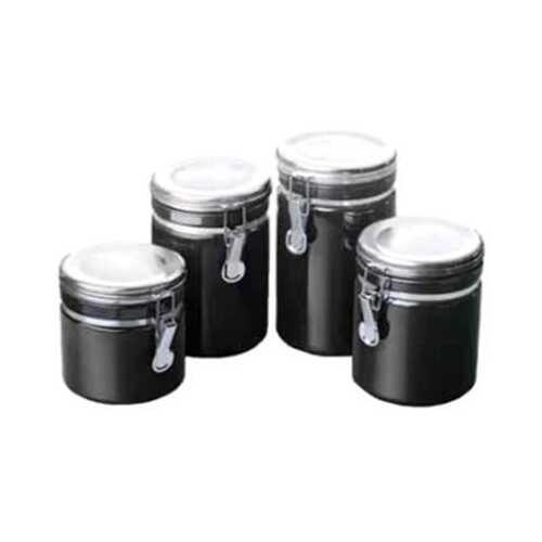 Canister Set Black Ceramic 4pc