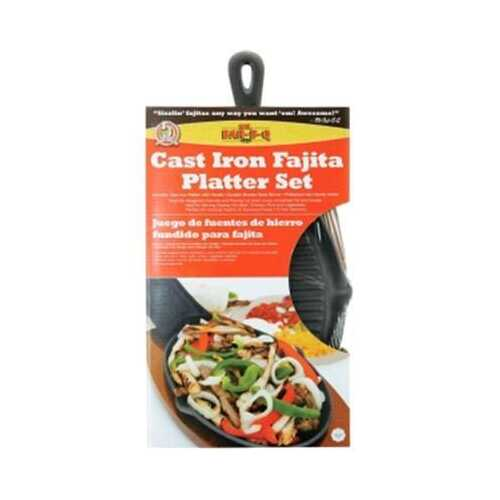 Cast Iron Fajita Platter Set