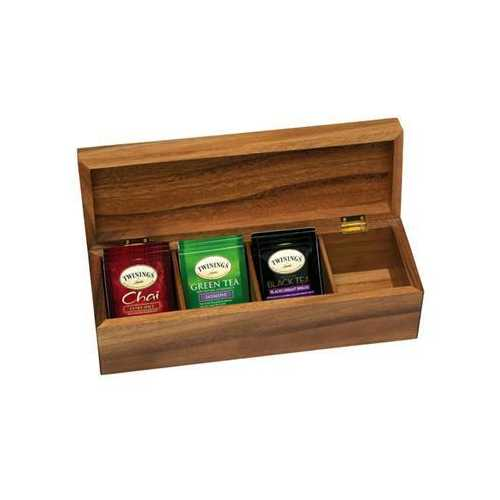 Acacia 4 Section Tea Box
