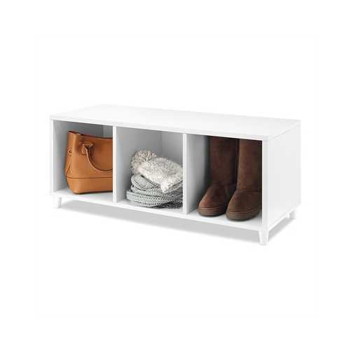3 Section Storage Bench White