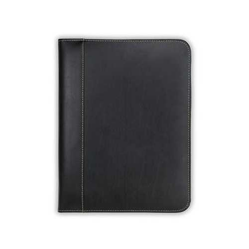 Leather Zip Padfolio Black