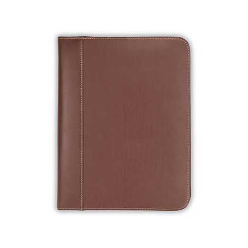 Leather Zip Padfolio Brown