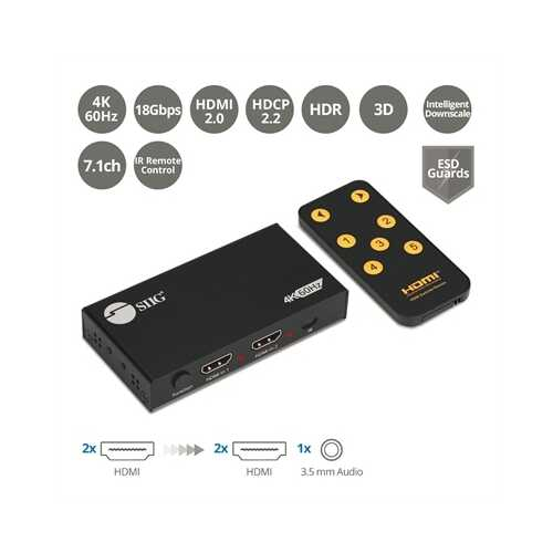 2 Port HDMI 2.0 4K Splitter