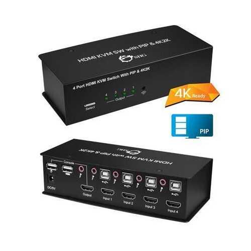 4x1 USB HDMI KVM Switch with 4