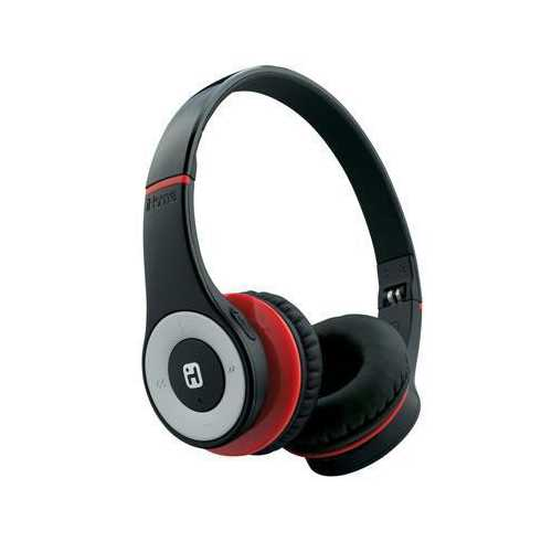 Bt Headphone With Pouch Black Red