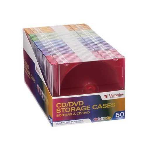 Color CD DVD Slim Cases 50Pk