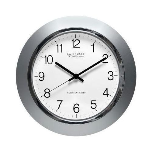 14in Atomic Analog Clock Slvr