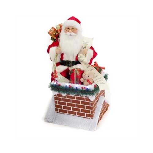 "GT 18""H Santa on Lit Chimney"