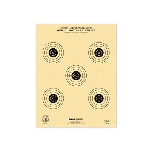 "Kruger NRA 25 ft Air Rifle Target, 7""x9"", 5 Bulls/Sheet, 100ct"