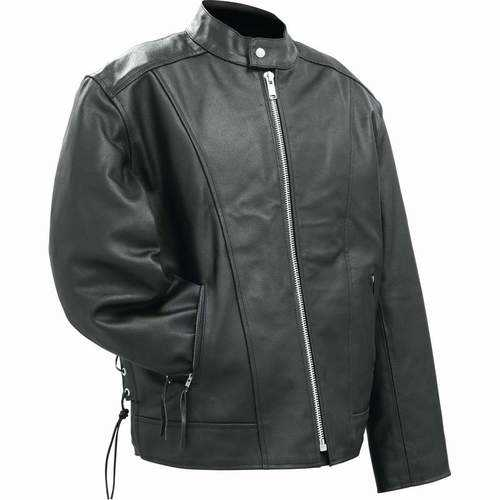 Solid Genuine Buffalo Leather Motorcycle Cruiser Jacket