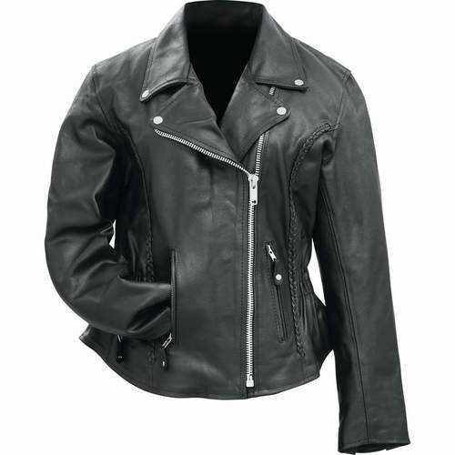 Ladies Solid Genuine Buffalo Leather Motorcycle Jacket