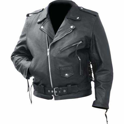 Solid Genuine Cowhide Leather Classic Motorcycle Jacket