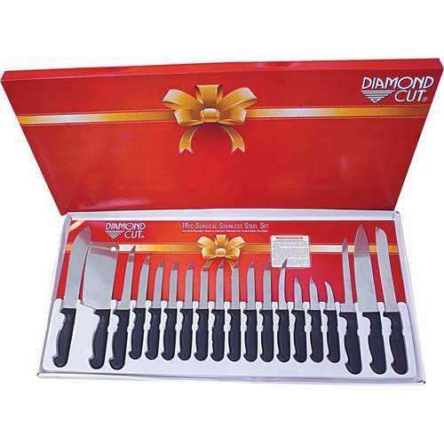 19pc Cutlery Set in White/Red Bow Box