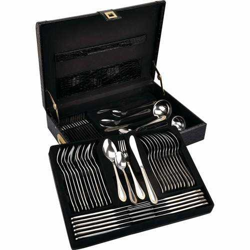 High-Quality, Heavy-Gauge Stainless Steel 72pc Flatware Set with 24K Gold Trim