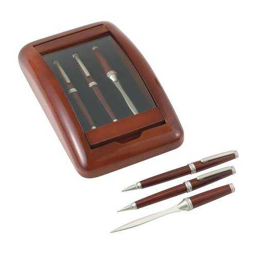 3pc Pen, Pencil and Letter Opener in a Wood and Glass Case