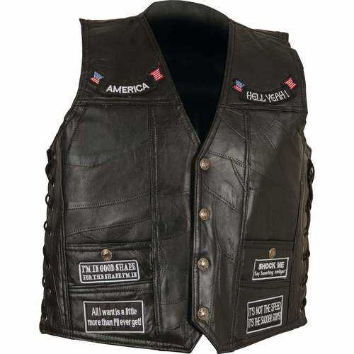 Rock Design Genuine Buffalo Leather Concealed Carry Vest with Patches