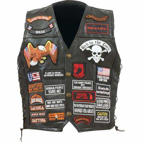 Genuine Buffalo Leather Biker Vest with 42 Patches