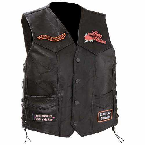 Ladies' Rock Design Genuine Leather Vest