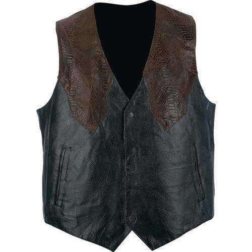 Hand-Sewn Pebble Grain Genuine Leather Western-Style Vest
