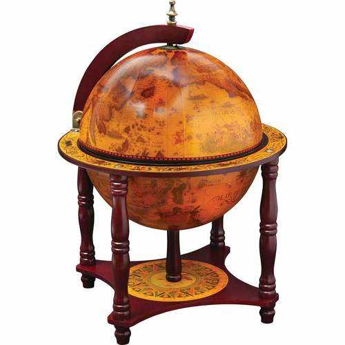 "13"" Diameter Globe with 57pc Chess and Checkers Set"