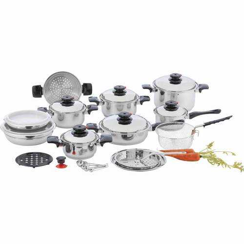 "28pc 12-Element T304 Stainless Steel ""Waterless"" Cookware"