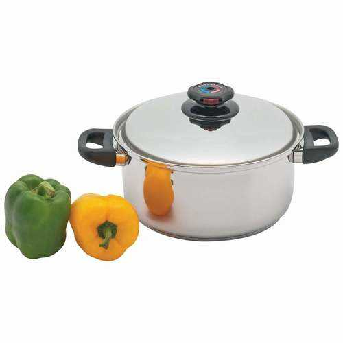 5.5qt 12-Element T304 Stainless Steel Stockpot with Vented Cover