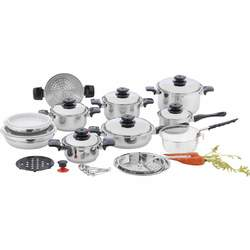 """28pc 12-Element T304 Stainless Steel """"Waterless"""" Cookware"""