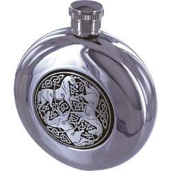 5oz Round Stainless Steel Flask with Celtic Horse Medallion