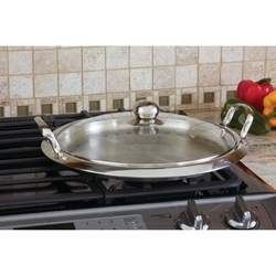12-Element High-Quality Stainless Steel Round Griddle with See-Thru Glass Cover