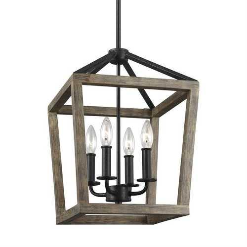 4 Light Lantern Adjustable Dimmable Square/Rectangle Chandelier