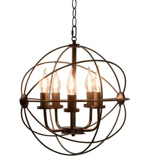 5 Light Modern Black Iron Sphere Modern Chandelier