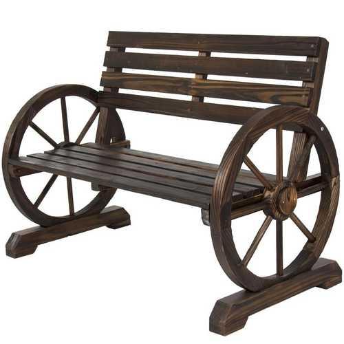 2 Person Farmhouse Wagon Wheel Wooden Bench